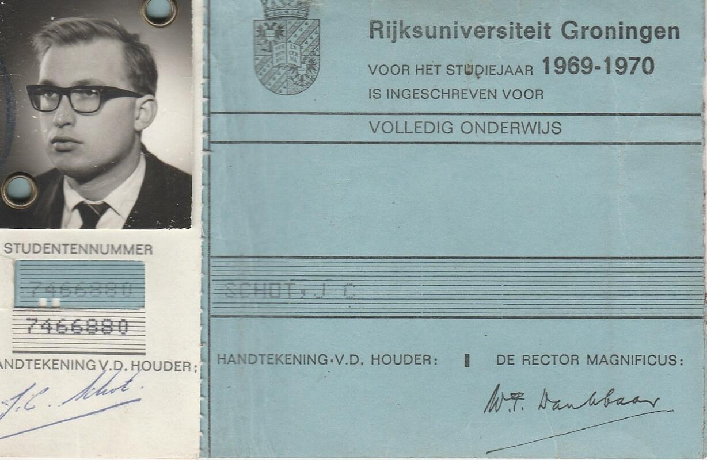 Jaap Schot Rijksuniversiteit Groningen inschrijving 1969-1970